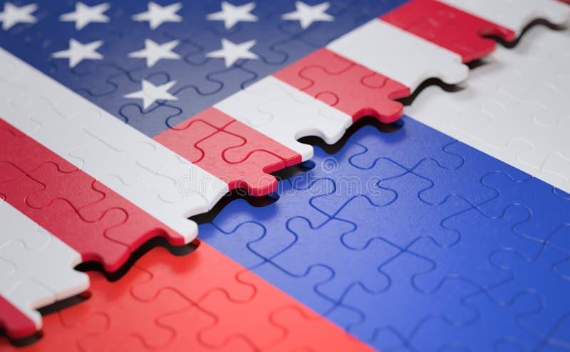Головоломка флага Соединенных Штатов и России стоковые фотографии rf