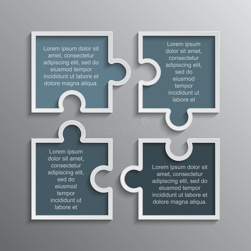 Головоломка Infographics 4 части головоломок знамени шагов иллюстрация штока