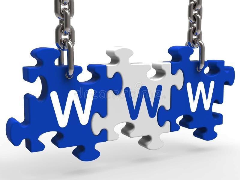 Головоломка Www показывает он-лайн вебсайты или интернет иллюстрация вектора
