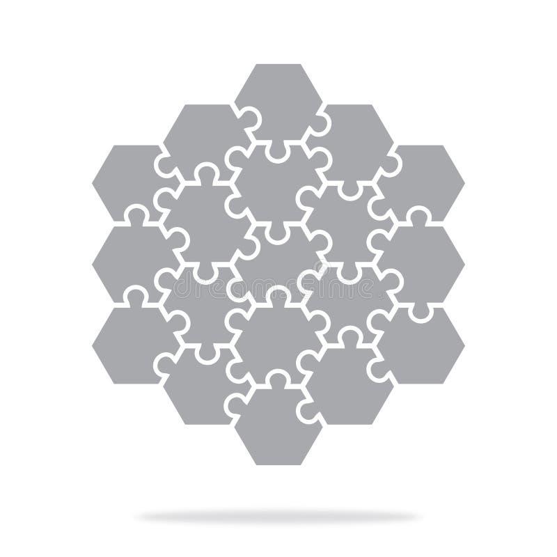 Головоломки простого значка шестиугольные в сером цвете Простая головоломка значка 19 элементов бесплатная иллюстрация