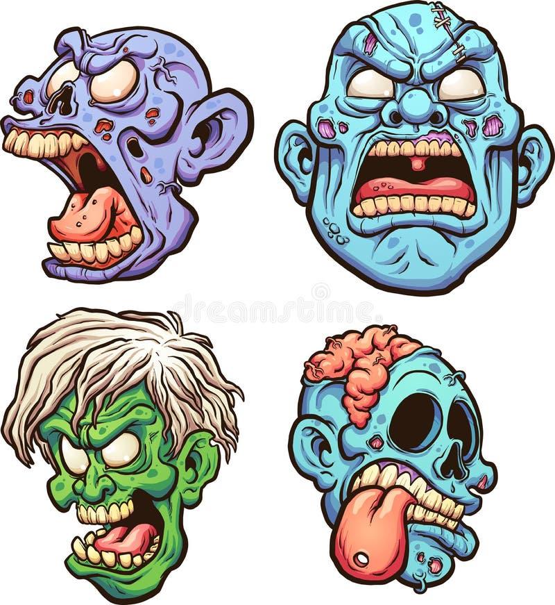 Головы зомби иллюстрация вектора
