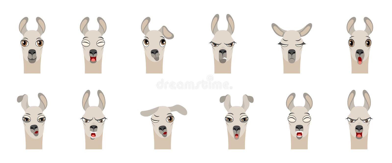 Головы лама с различными эмоциями - усмехающся, унылые, гнев, агрессия, полусон, усталость, злостность, сюрприз, страх иллюстрация штока