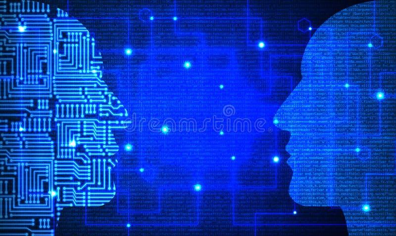 2 головы при цепь и голубая картина кода смотря на один другого стоковые изображения rf