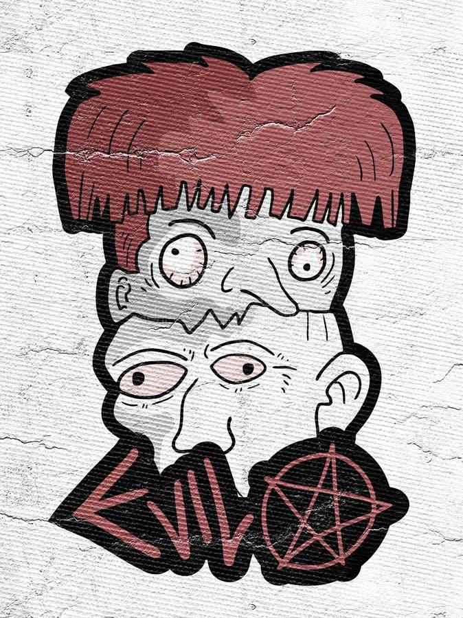 Головы страха хеллоуина иллюстрация штока