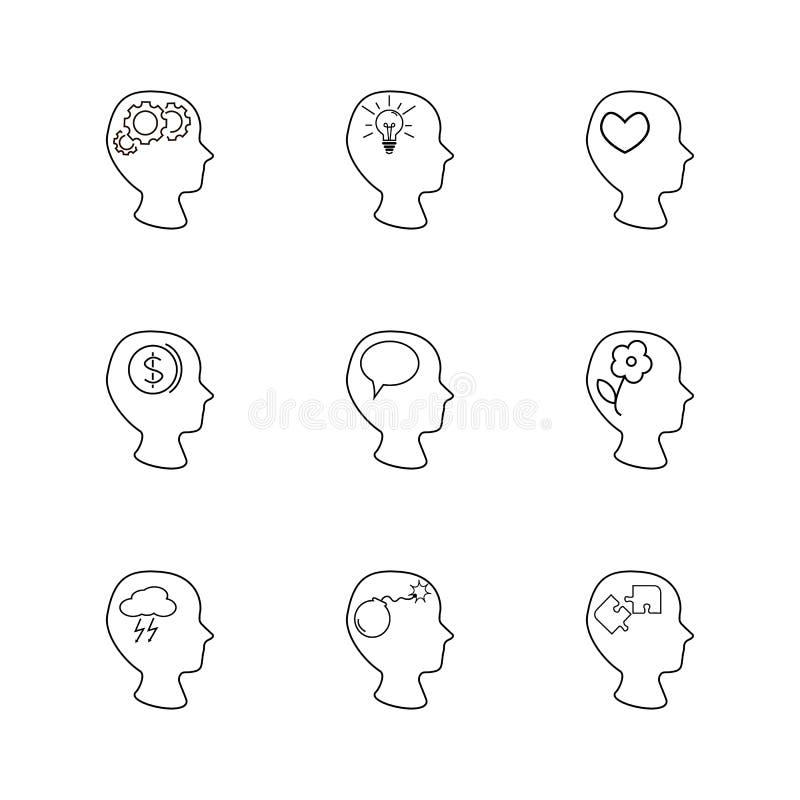 Головы установили, думающ, различная вещь внутри головы иллюстрация вектора