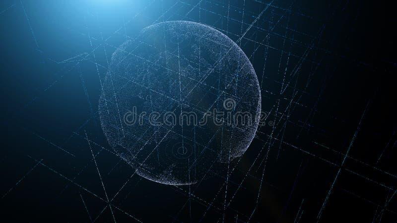 Голографическая земля планеты от частиц предпосылка технологическая стоковое изображение rf