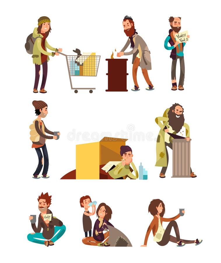 Голодная пакостная бродяга Взрослая женщина и человек умоляя установленным характерам вектора денег бесплатная иллюстрация