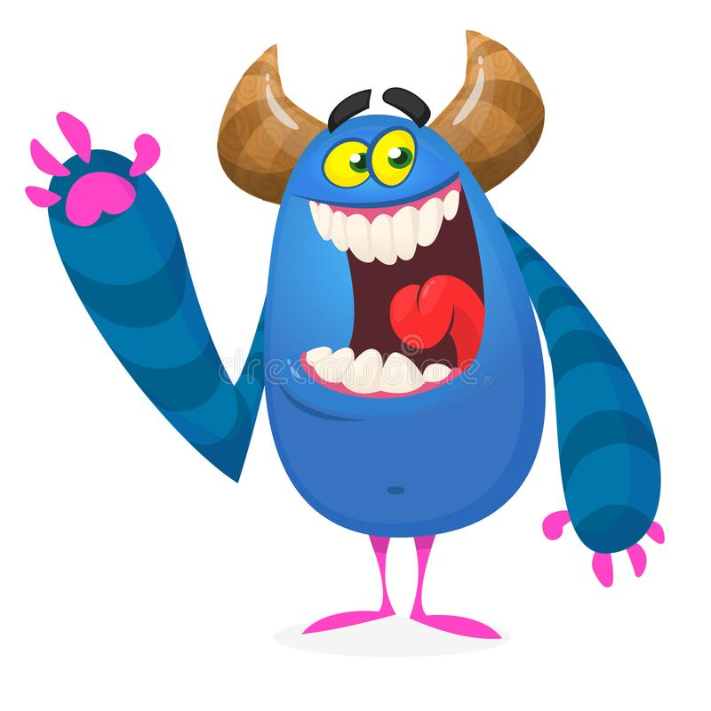 Голодное возбужденное чудовище мультфильма r иллюстрация вектора