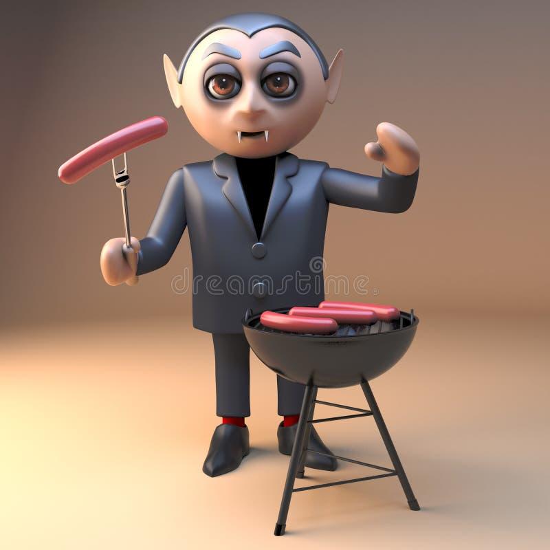 Голодный вампир Дракула в 3d варя сосиски крови на bbq барбекю, иллюстрации 3d бесплатная иллюстрация