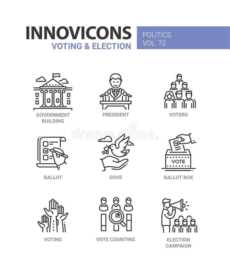 Голосование и избрание - комплект современной тонкой линии значков дизайна бесплатная иллюстрация