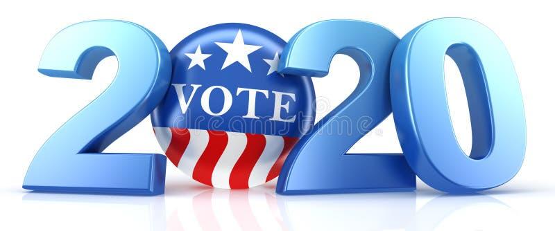 Голосование 2020 Красный, белый и синий контакт для голосования в 2020 году с текстом для голосования бесплатная иллюстрация