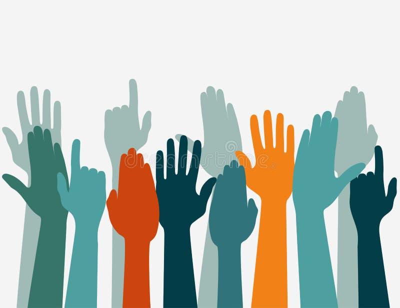 Голосуя рука поднятая вверх, концепция избрания Оружия в верхней части бесплатная иллюстрация