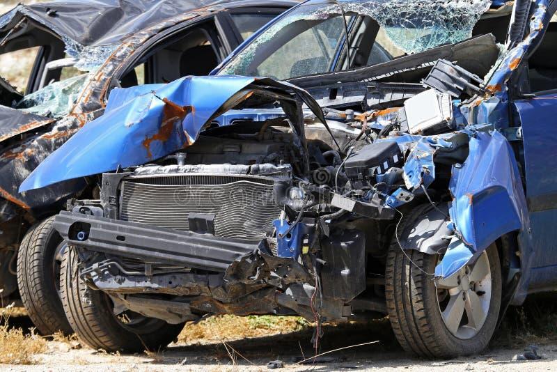 голубая автокатастрофа стоковая фотография