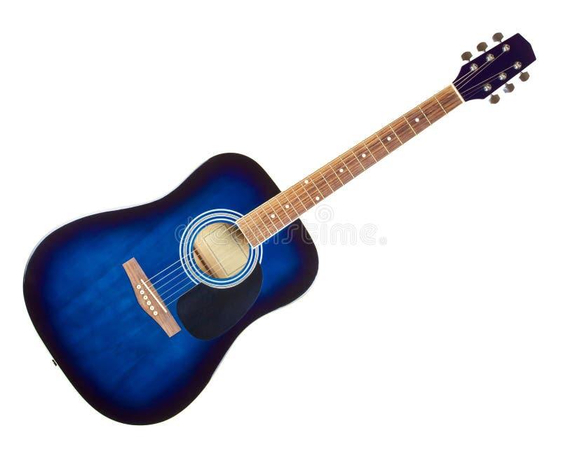 Голубая акустическая гитара стоковые изображения