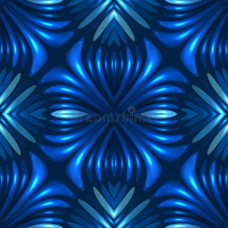 голубая безшовная флористическая абстрактная предпосылка 3d иллюстрация вектора