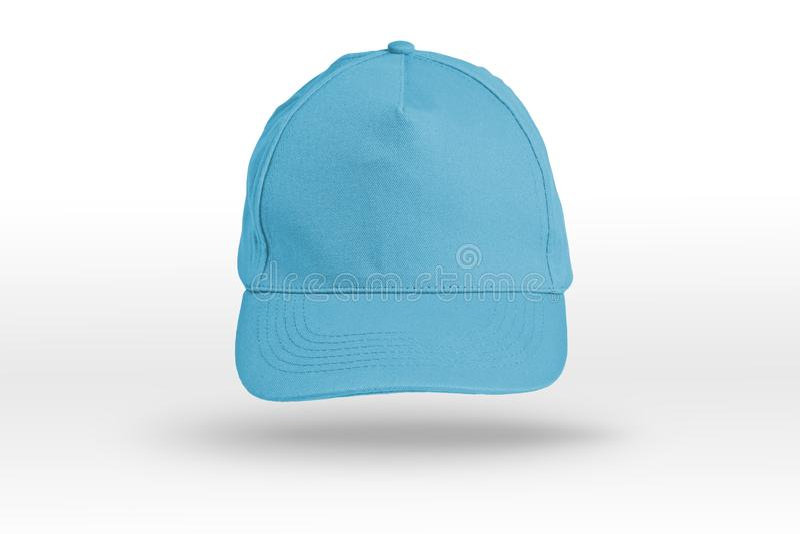 Голубая бейсбольная кепка на белой предпосылке стоковое фото