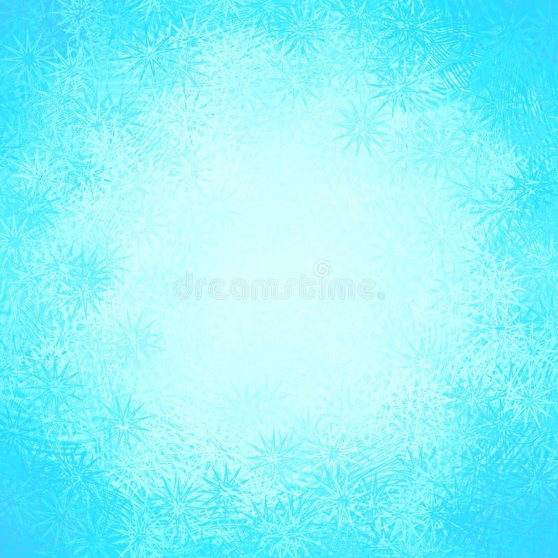 Голубая белая замороженная зима Frost предпосылки рождества звезд снежинки конспекта окна делает по образцу иллюстрация вектора