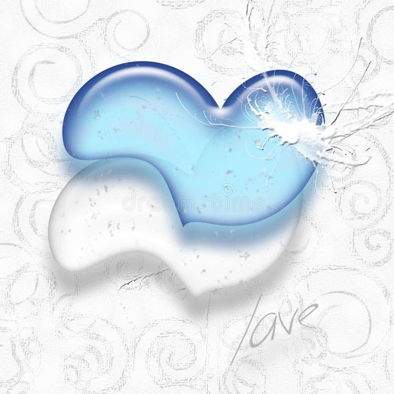 голубая белизна сердца стоковое фото rf