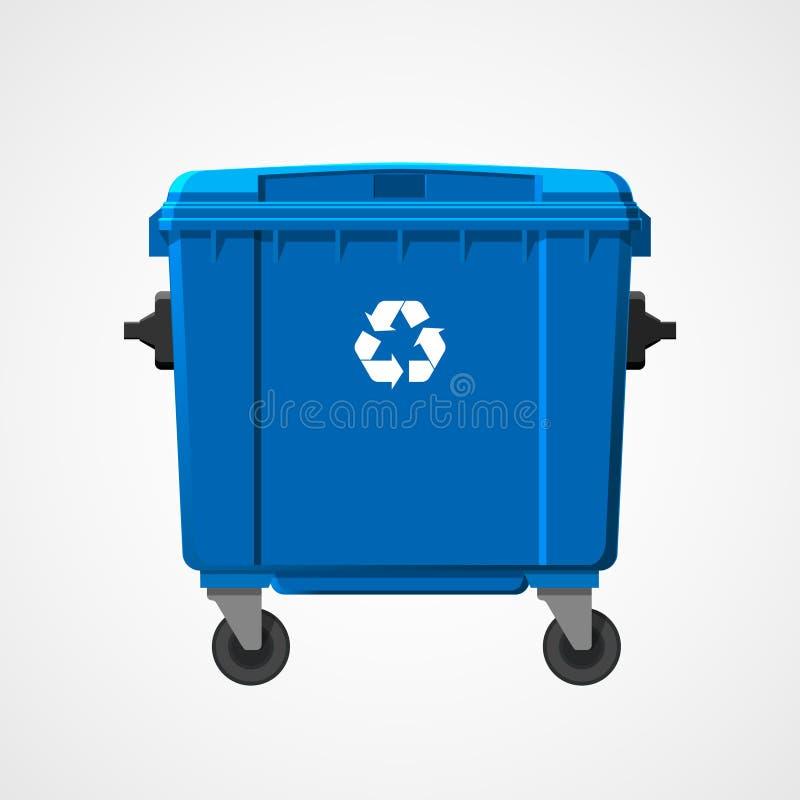 Голубая большая мусорная корзина изолированная на белой предпосылке Плоский стиль вектор иллюстрация вектора