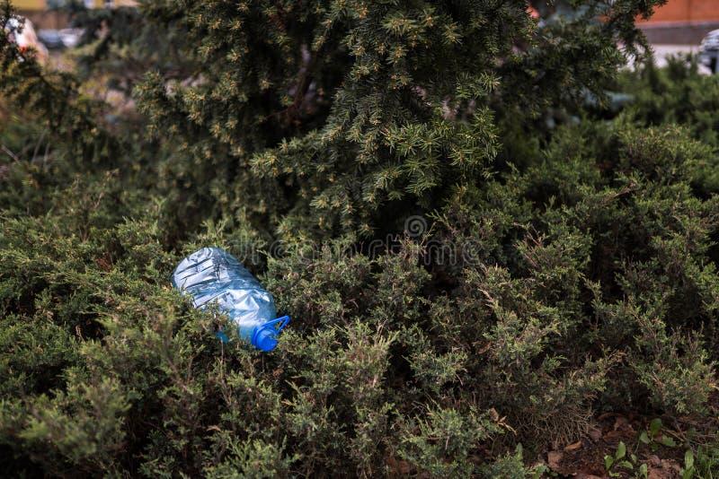 Голубая большая пластиковая бутылка лежа на том основании в дереве в лесе парка - брошенном вне не повторно использовал - погань  стоковое изображение