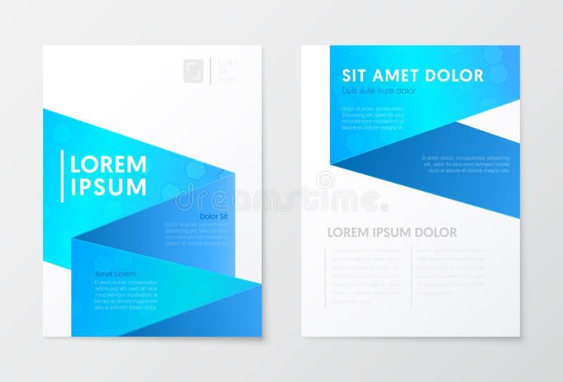 Голубая брошюра дела годового отчета, буклет, шаблон рогульки крышки абстрактная конструкция визитной карточки предпосылки корпор иллюстрация штока