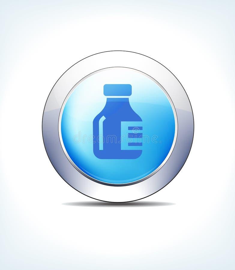Голубая бутылка медицины кнопки значка, значки символов соединений глобуса сетей иллюстрация вектора