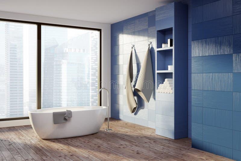 Голубая ванная комната, белый ушат иллюстрация вектора
