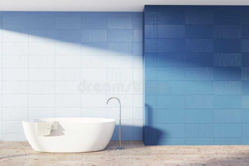 Голубая ванная комната внутренняя, белый ушат иллюстрация вектора