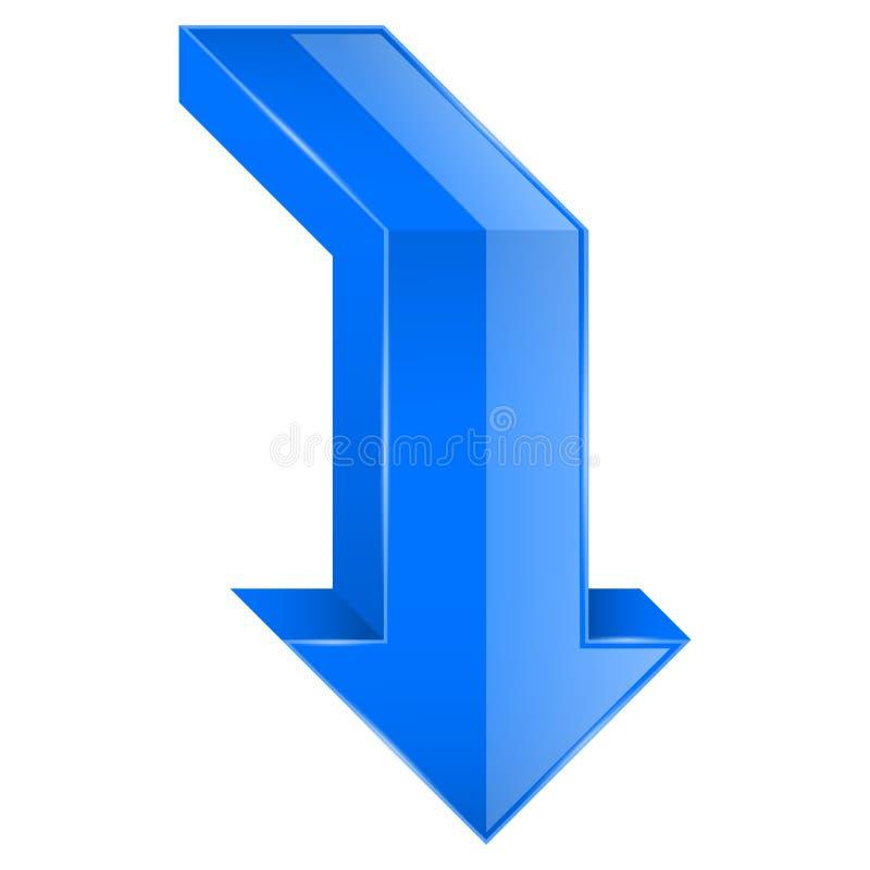 Голубая ВНИЗ стрелка икона 3d бесплатная иллюстрация