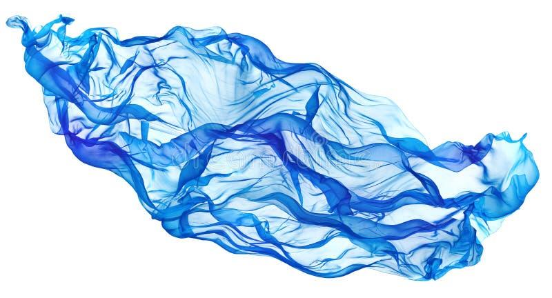 Голубая волна летая ткани, пропуская развевая ткань шелка порхая стоковые фото