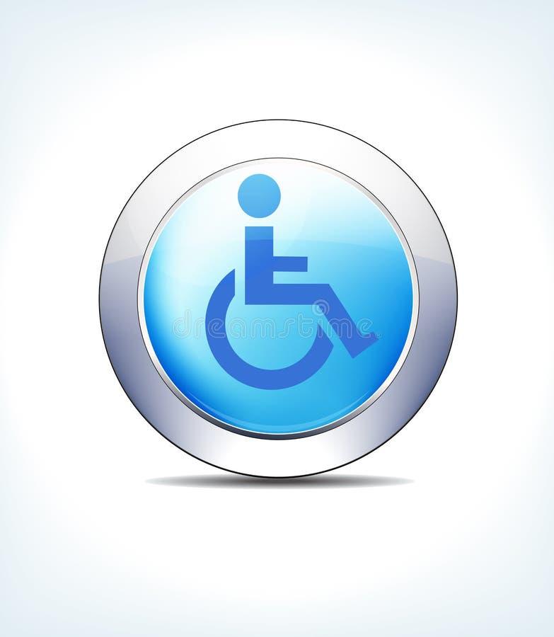 Голубая выведенная из строя кнопка, кресло-каталка значка, медицинская помощь, излечивает иллюстрация штока