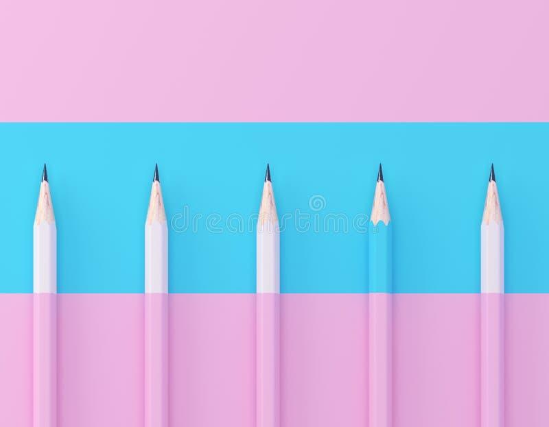 Голубая выдержка карандаша вне от толпы собратьев множества идентичных розовых на розовой пастельной предпосылке r Leadershi стоковые изображения