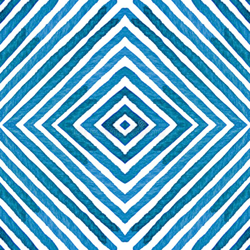 Голубая геометрическая акварель Любознательная безшовная картина Нашивки нарисованные рукой Текстура щетки выдающе бесплатная иллюстрация