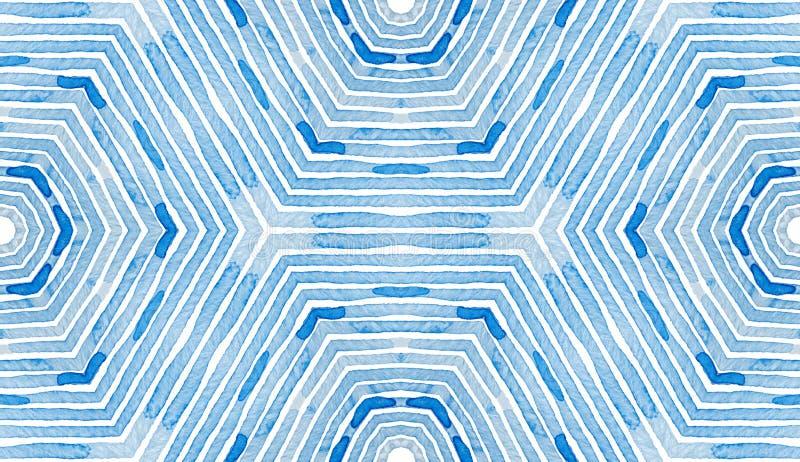 Голубая геометрическая акварель Любознательная безшовная скороговорка иллюстрация штока