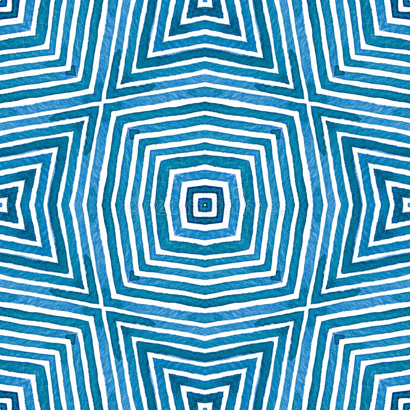 Голубая геометрическая акварель милая картина безшовная Нашивки нарисованные рукой Текстура щетки Угождая Chevro стоковое изображение