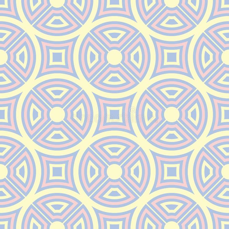 Голубая геометрическая безшовная картина Предпосылка с бежевыми и розовыми элементами иллюстрация вектора