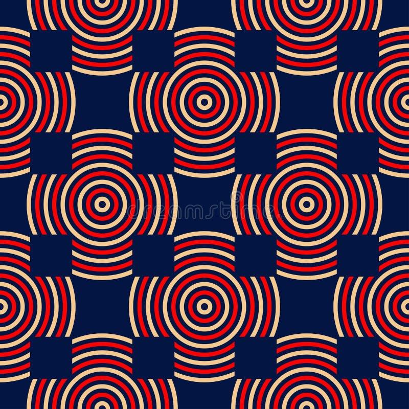 голубая геометрическая картина безшовная Красный цвет и бежевая печать иллюстрация штока