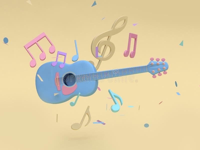 голубая гитара 3d с много примечание музыки, предпосылка 3d ключевого стиля мультфильма sol мягкая желтая минимальная представить бесплатная иллюстрация
