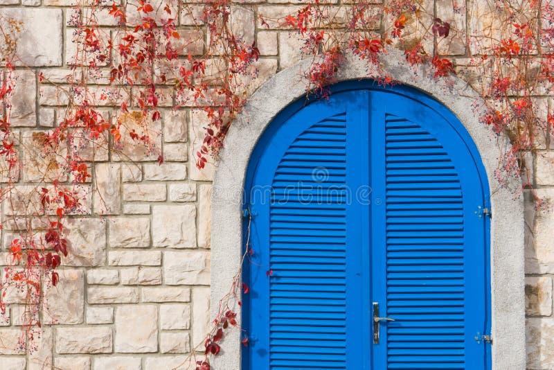 голубая дверь яркая стоковые фото
