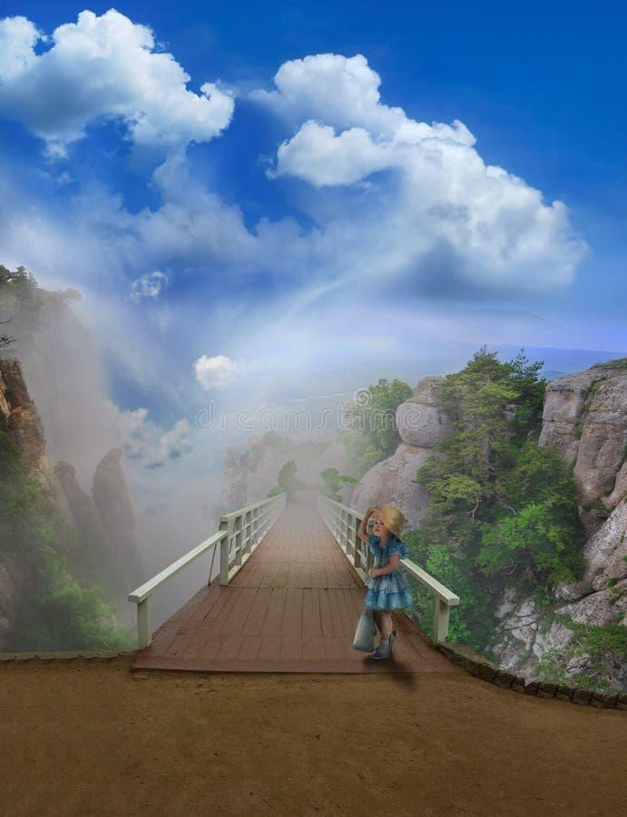 голубая девушка платья моста стоковое изображение rf