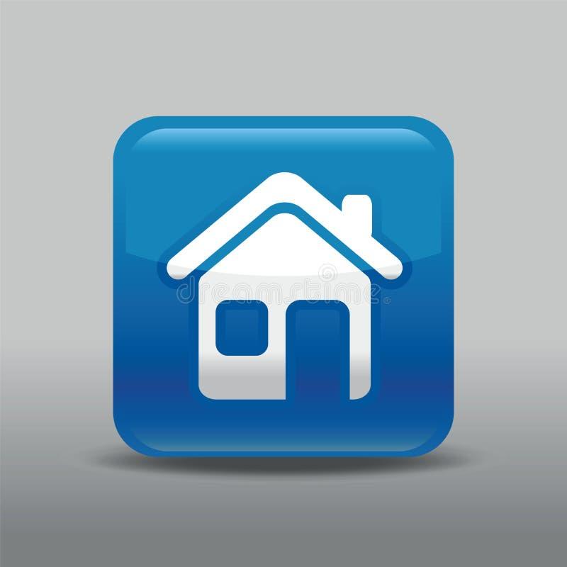 Голубая домашняя икона иллюстрация вектора