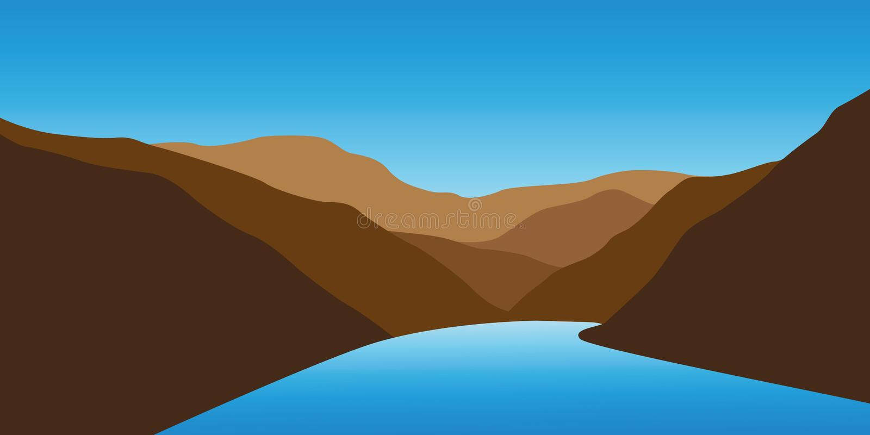 Голубая заводь между ландшафтом гор иллюстрация вектора