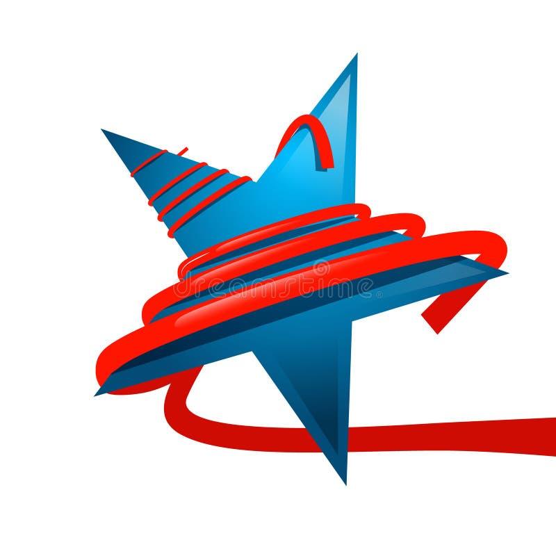 Голубая звезда с красной изолированной лентой иллюстрация штока