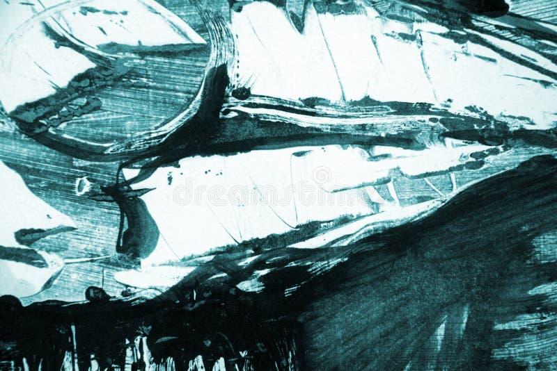 Голубая зеленая белая черная предпосылка ходов кисти стоковая фотография