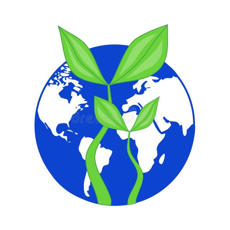 Голубая земля планеты глобуса с растущим зеленым цветом выходит завод - символ иллюстрация вектора
