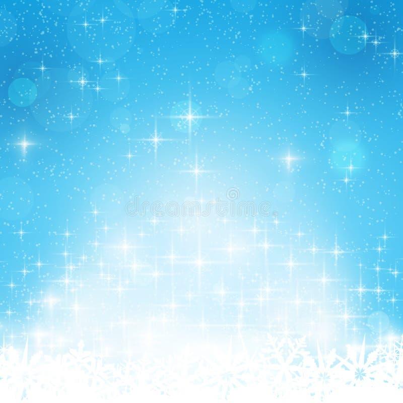 Голубая зима, предпосылка рождества с звездами иллюстрация штока