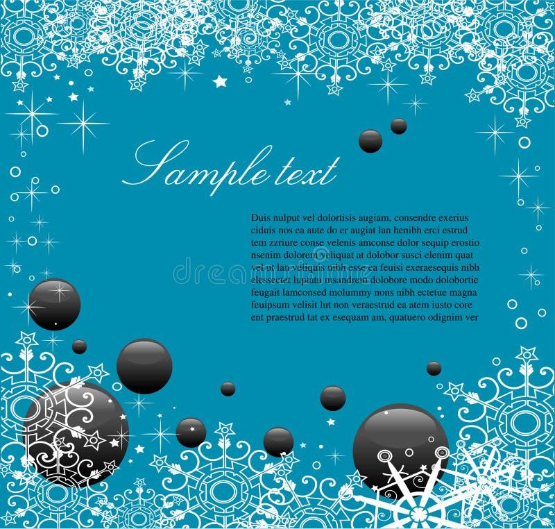 голубая зима приветствию иллюстрация вектора