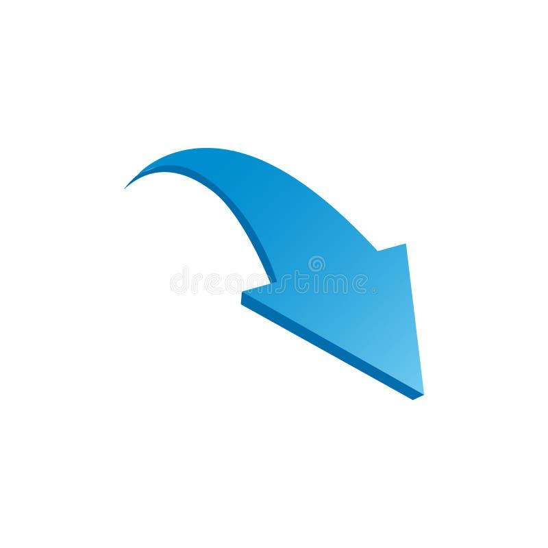 Голубая изогнутая стрелка СПУСКА икона 3d Иллюстрация вектора изолированная на белой предпосылке бесплатная иллюстрация