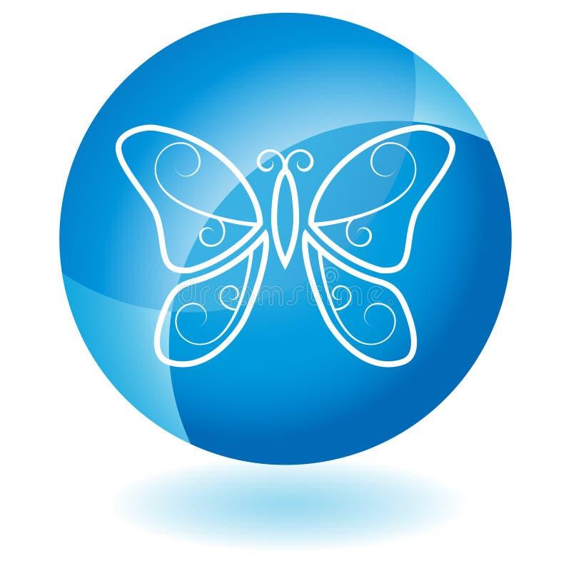 голубая икона бабочки иллюстрация вектора