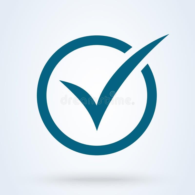 Голубая икона контрольной пометки Символ тикания в голубом цвете, иллюстрации вектора иллюстрация штока